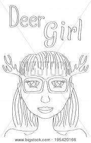 Deer Girl Coloring Vector Photo Free Trial Bigstock