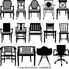 dining chair clipart. clipart vector of chair design - a set silhouette showing . dining