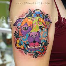 Pop Art Pitbull Tattoo Dermapunct Tattoo