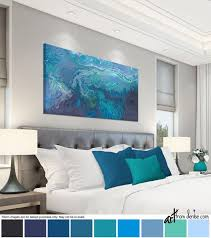 blue gray and teal wall art canvas