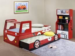 cheap kids bedroom ideas: cheap kids trundle beds digihome trundle beds for children with red car shape of bed and fur purple rug