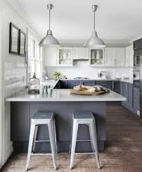 black kitchen cabinets with white marble countertops. White Marble Island Countertop Dark Grey Bar Stools Light Dining Table With Metal Leg Black And Wall Painting Combination Kitchen Cabinets Countertops