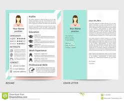 Modern Cover Letter Templates Female Resume And Cover Letter Template Stock Vector Illustration