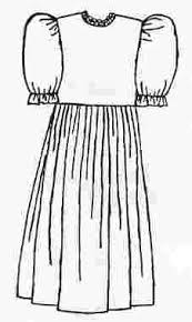 pioneer woman clothing drawing. a simple modest dress in natural waist length. puffed elbow length sleeves come down to an elastic drawn ruffle and skirt is long full. pioneer woman clothing drawing