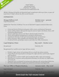 Receptionist Resume Legal1 Sample For Rare Templates Medical With No