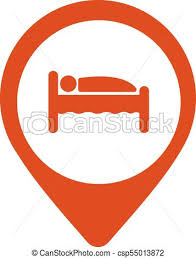 Pinpoint Hotel Accommodation Map Point Isolated Icon With Person In Bed Symbol Vector