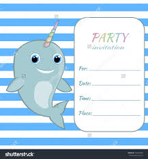 children birthday party invitation card template stock vector children birthday party invitation card template baby narwhal rainbow horn on blue striped pattern background