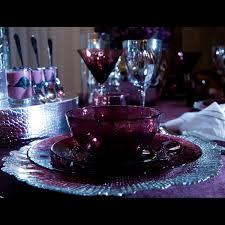 purple glass dinnerware set of 4