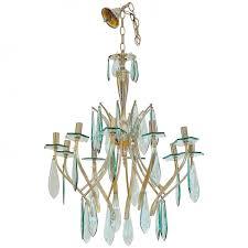 italian brass and glass chandelier 1950s