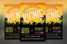 Picnic Flyers Tropical Picnic Flyer Template Church Picnic Funday Family Reunion