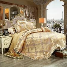 2017 luxury jacquard bedding set king queen size bed linen gold duvet cover embroidery satin bed set cotton bed sheet comforter sets white bedding