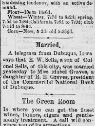 25 Apr 1884 Salt Lake Herald EW & Mabel marriage announcement -  Newspapers.com