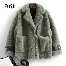 pudi b181032 womens winter warm real wool fur jacket vest genuine leather leisure girl coat lady jacket overcoat