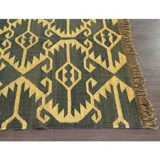 tribal print runner rug black jute wool and cream