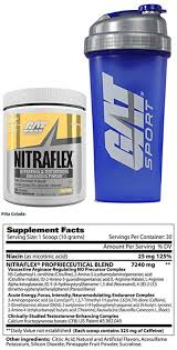gat clinically tested nitraflex testosterone enhancing pre workout 300 g 30 servings with bonus gat shaker bottle pina colada