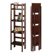 Narrow Folding Bookcase - 4 Shelves by Winsome Trading Image