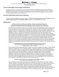 Michael Kinsel Resume (Ts Sci - Ssbi)_March 2013 - Current Certificat…