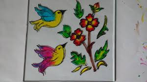 Fabric Painting Designs Of Birds Glass Painting Of Birds