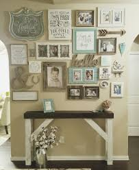 distressed entry table. wall gallery entry farmhouse style table. shabby chic distressed white chalk paint with dark table