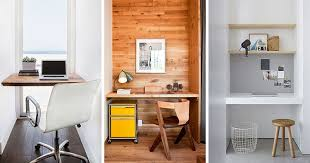 Home office small space Desk 10 Small Home Office Ideas Make Use Of Small Space And Tuck Your Desk Contemporist Small Home Office Idea Make Use Of Small Space And Tuck Your