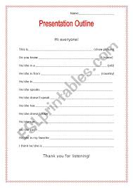 How To Do A Presentation Outline Presentation Outline My Favorite Person Esl Worksheet By