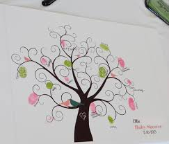 Fingerprint Guest Book Personalized Baby Shower Guest BookFingerprint Baby Shower Tree