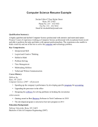 Resumes Sample Computer Science Resume Bsc Fresher For Lecturer In