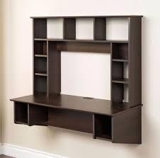 espresso wall desk floating bookcase