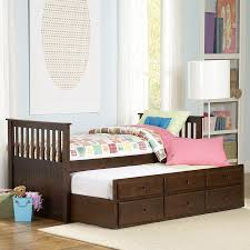 shop homelegance zachary espresso twin trundle bed with storage at