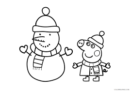 Explore 623989 free printable coloring pages for your kids and adults. Peppa Pig Coloring Pages Cartoons Peppa George Pig Snowman Printable 2020 4832 Coloring4free Coloring4free Com