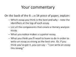 literary analysis essay evaluation you will need two different  3 your commentary
