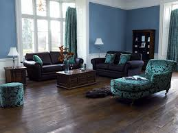 perfect blue and brown living room on with attractive black leather sofa perfect