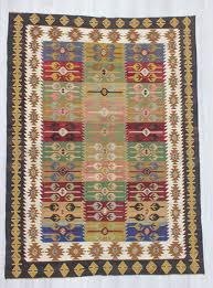 0490 vintage handwoven colorful large turkish kilim rug