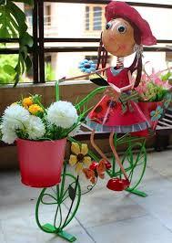 wonderland big pink bike with two pots metal planter pot for home garden decor
