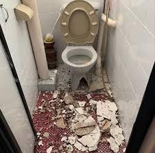 ceiling concrete slab falls in toilet