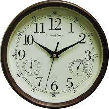 pas double sided indoor outdoor wall clock with thermometer