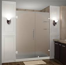 nautis gs completely frameless hinged shower door with shelves frosted glass chrome finish