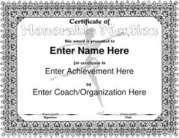 Honorable Mention Certificate Honorable Mention Certificate Template Carlynstudio Us