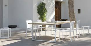 wood white outdoor dining suite garden