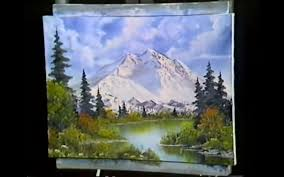a screenshot showing bob ross s completed painting from season 1 episode 2