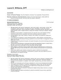 Sample Resume Objectives For Physical Therapist Best of Resume Physical Therapist Joggnature