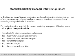 Channel marketing manager interview questions