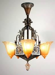 art deco light fixtures art chandelier sold antique five light slip shade by original finish diamond