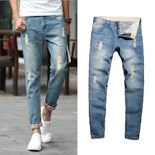 <b>Men Casual</b> Distressed Jeans Straight <b>Slim</b> Destroy Wash Jeans ...