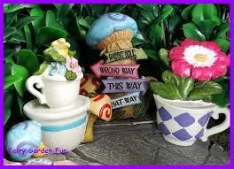 1 of 3 fairy garden fun alice in wonderland tea cups and sign set of 3 mini figurines