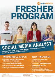 fresher program social media analyst hr poster