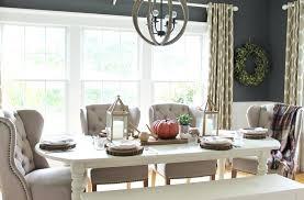 modern farmhouse dining table fall tour city bay leaf wreath log slices w63