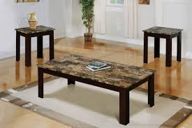 faux marble 3 piece coffee end tables value bundle walnut for living room decor ideas