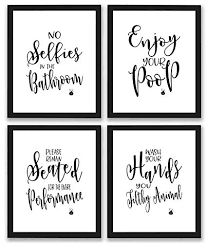 Free Printable Bathroom Art Awesome Amazon Bathroom Quotes And Sayings Art Prints Set Of Four