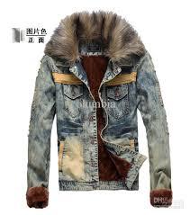 2752 hot new fashion men s cowboy jacket men slim fur winter with faux fur collar plus velvet cowboy jacket coat outerwear jacket clothing outfit coats